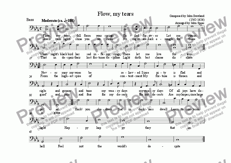 page one of the Bass part from Flow, my tears