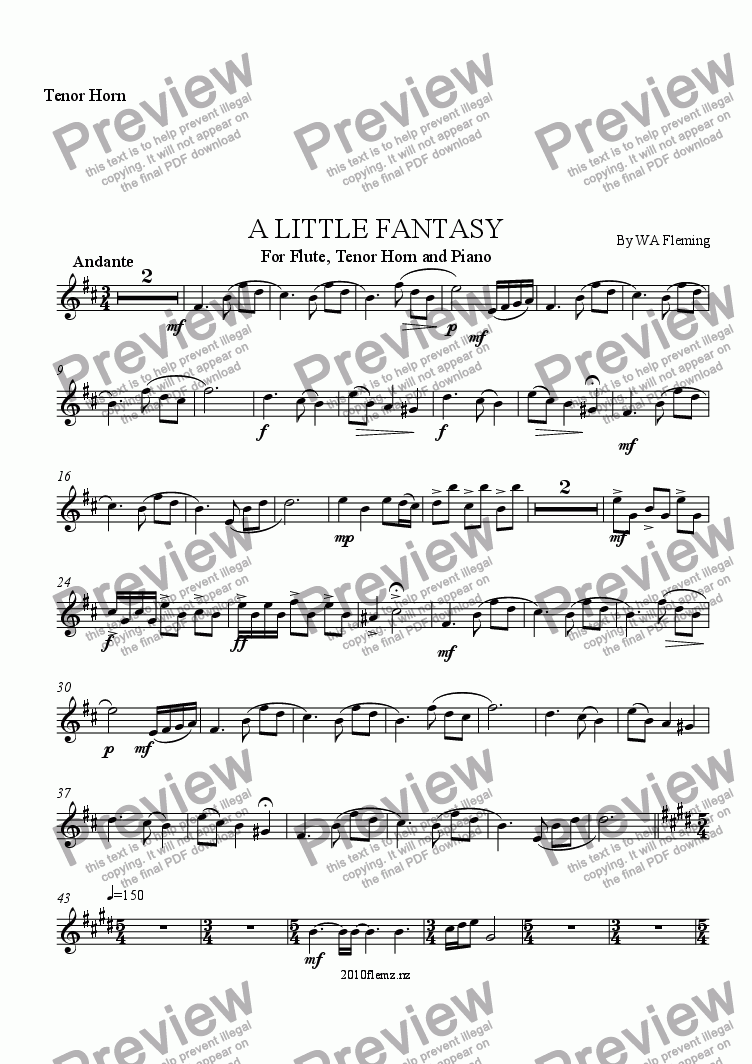 page one of the Tenor Horn part from A LITTLE FANTASY