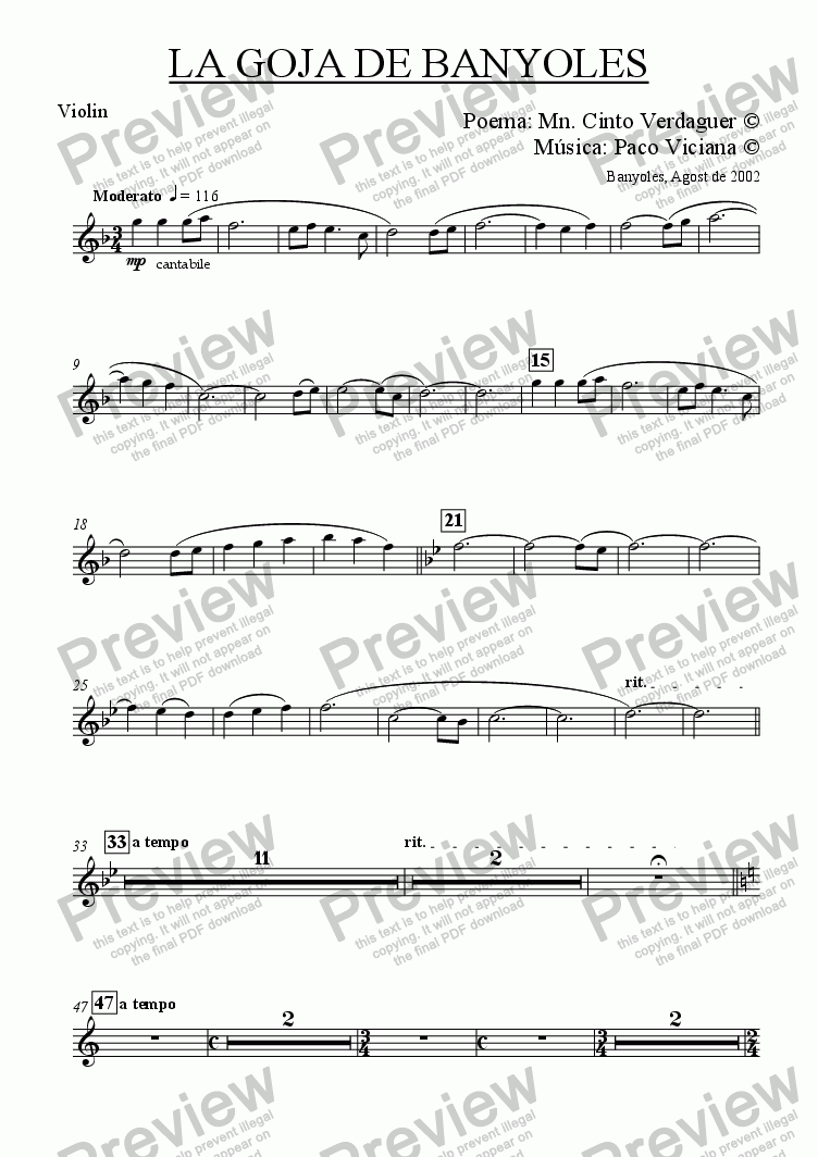 page one of the Violin part from 153-La Goja de Banyoles (catalan) (chamber version Nr. 2)