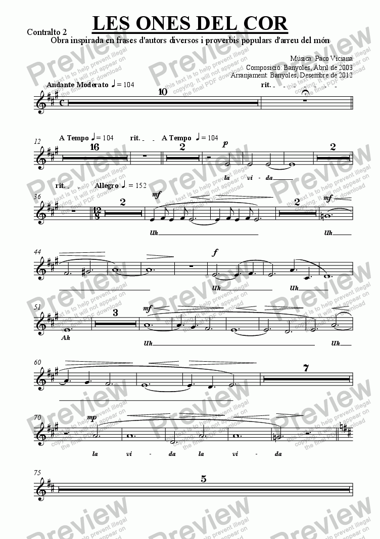 page one of the Contralto 2 part from 189-Les ones del cor (chamber version Nr. 2) (catalan)