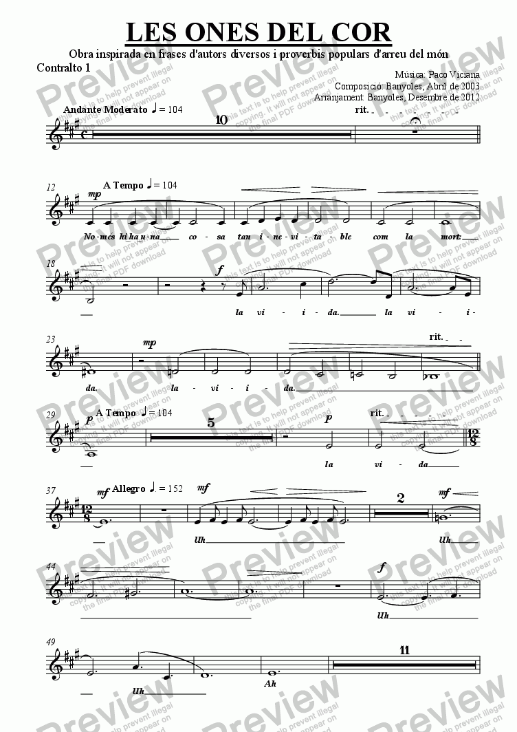 page one of the Contralto 1 part from 189-Les ones del cor (chamber version Nr. 2) (catalan)