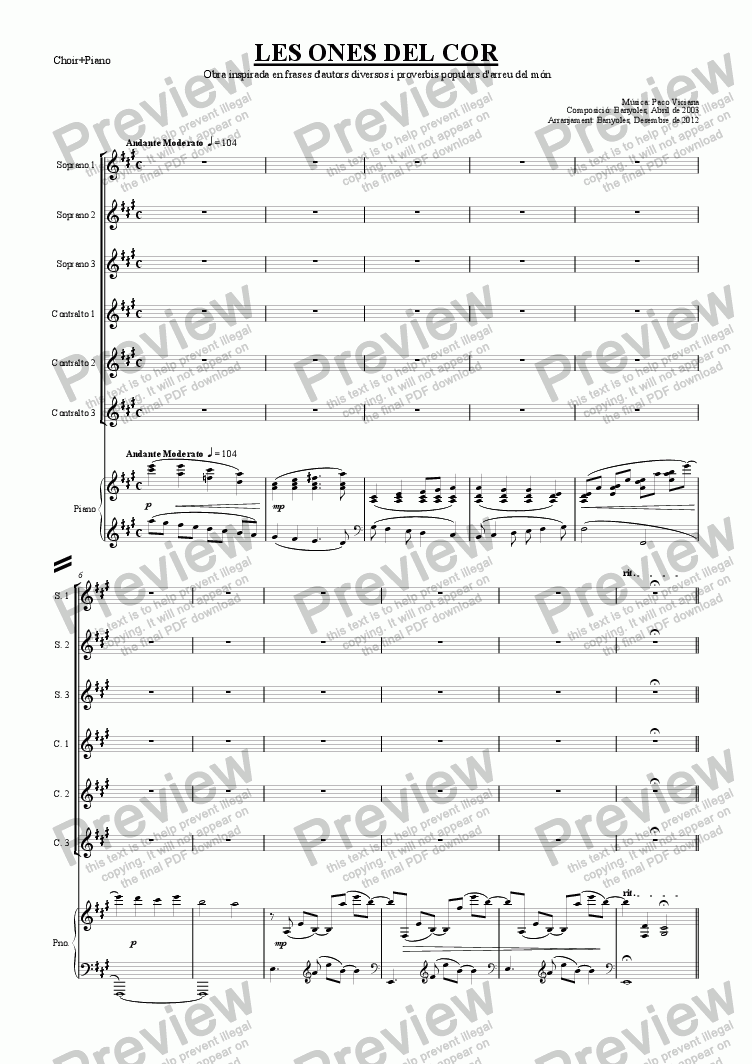 page one of the Choir+Piano part from 189-Les ones del cor (chamber version Nr. 2) (catalan)