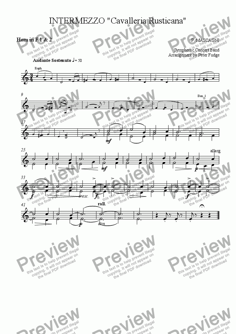 "page one of the Horn in F 1 & 2 part from INTERMEZZO ""Cavalleria Rusticana"""
