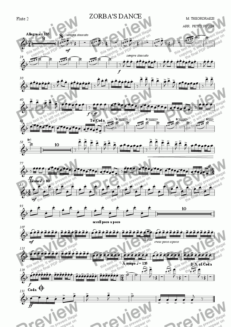 page one of the Flute 2 part from ZORBA'S DANCE