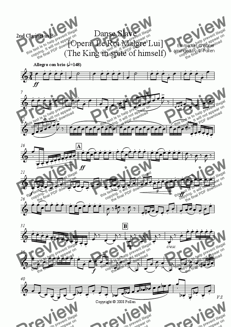 page one of the 2nd Clarinet in Bb part from Danse Slave [Opera: Le Roi Malgre Lui] (CB)