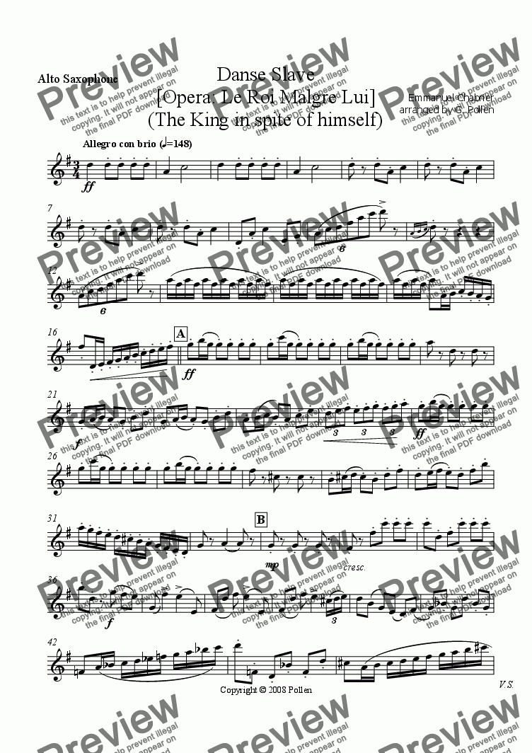 page one of the Alto Saxophone part from Danse Slave [Opera: Le Roi Malgre Lui] (CB)
