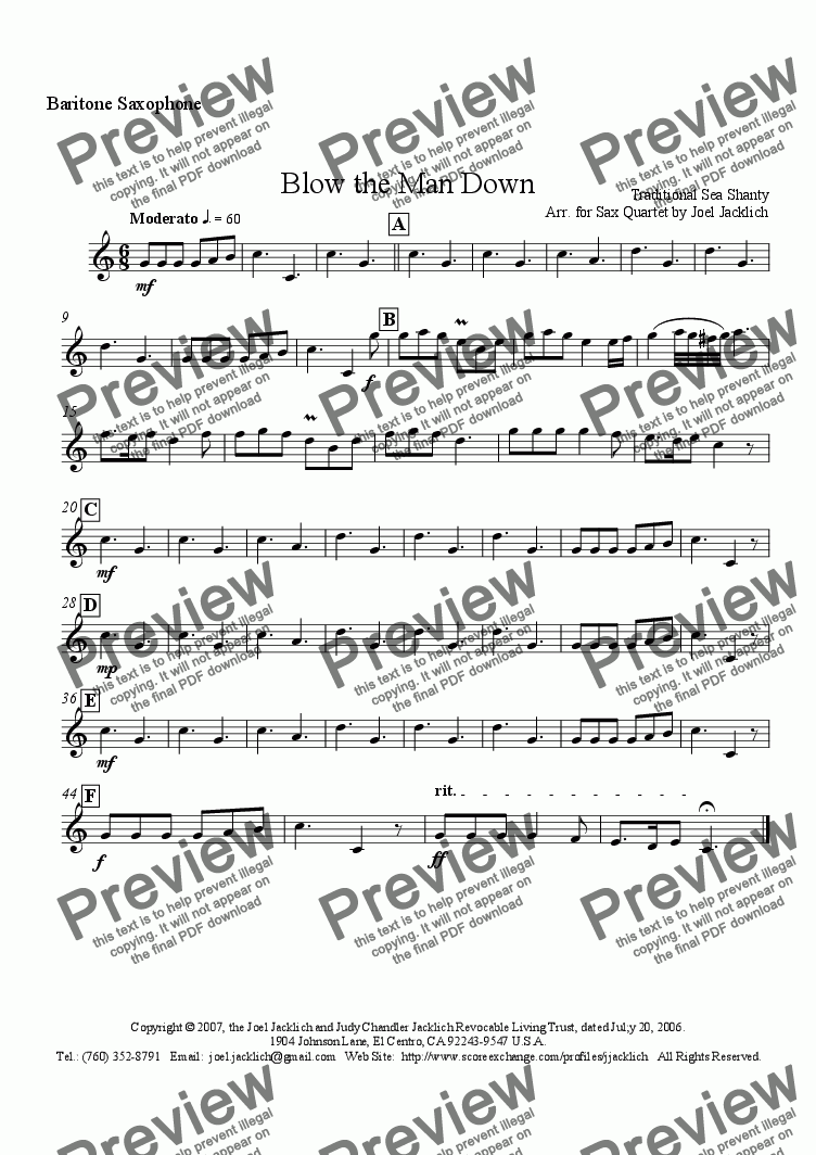 page one of the Baritone Saxophone part from Blow the Man Down