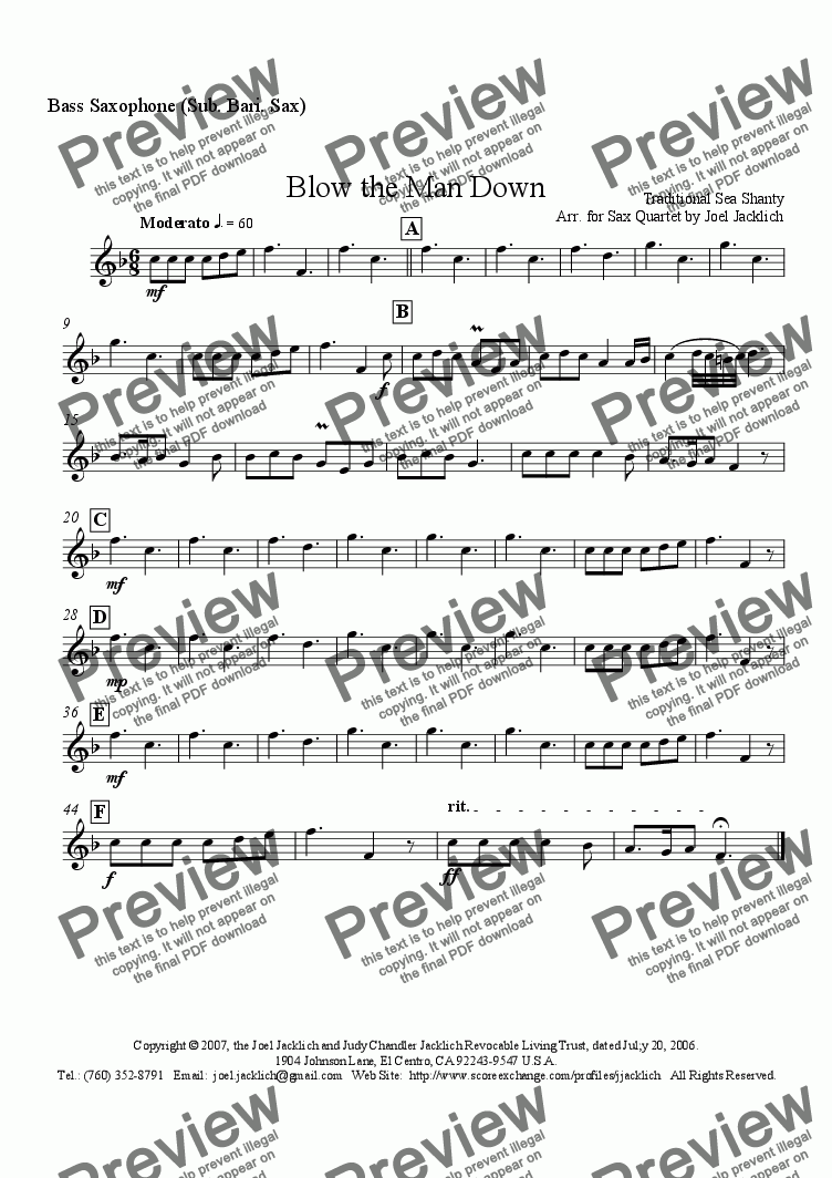 page one of the Bass Saxophone (Sub. Bari. Sax) part from Blow the Man Down