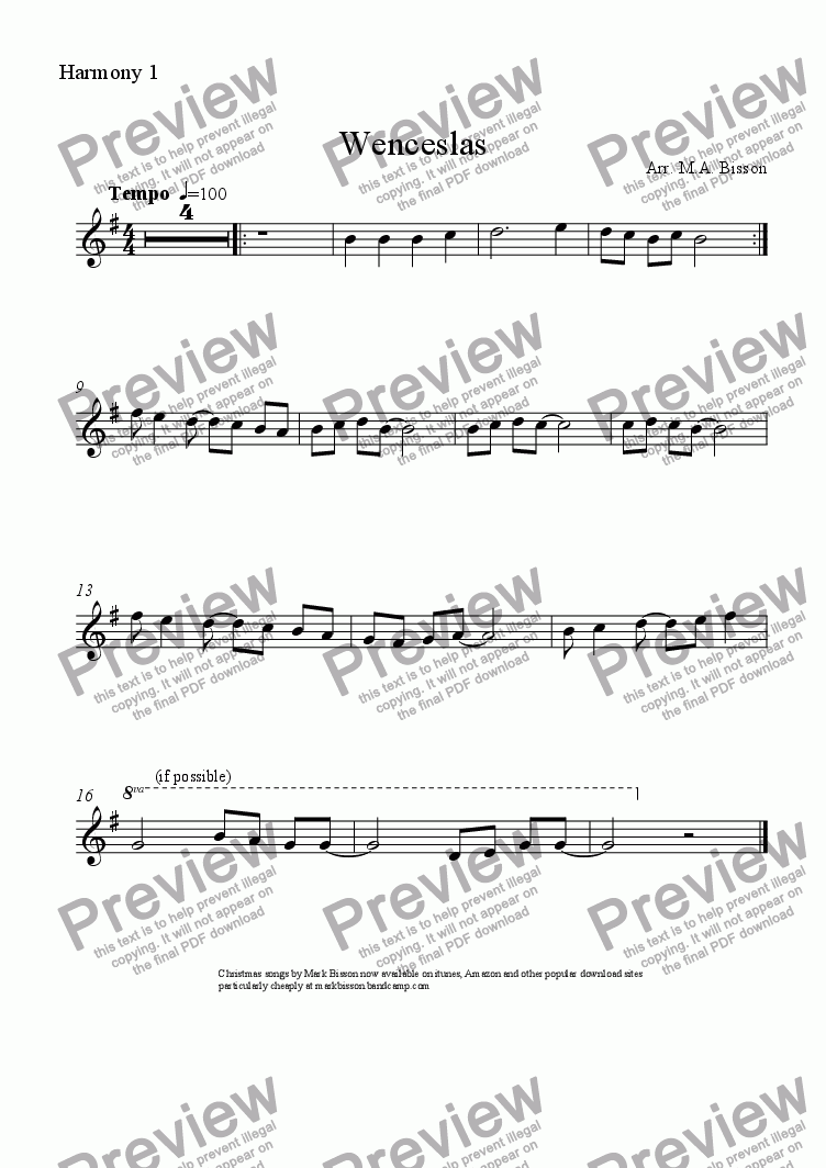 page one of the Harmony 1 (C instruments) part from Wenceslas - A multi-level Classroom Arrangement for Christmas