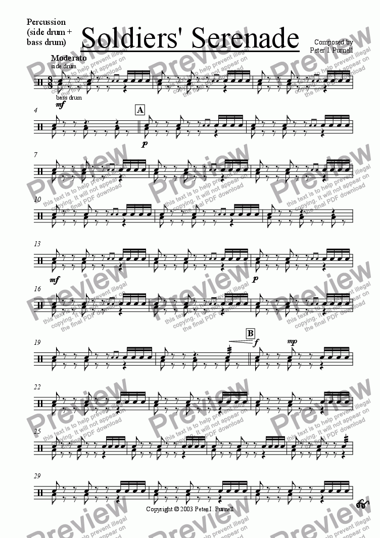 page one of the Percussion part from Soldiers' Serenade