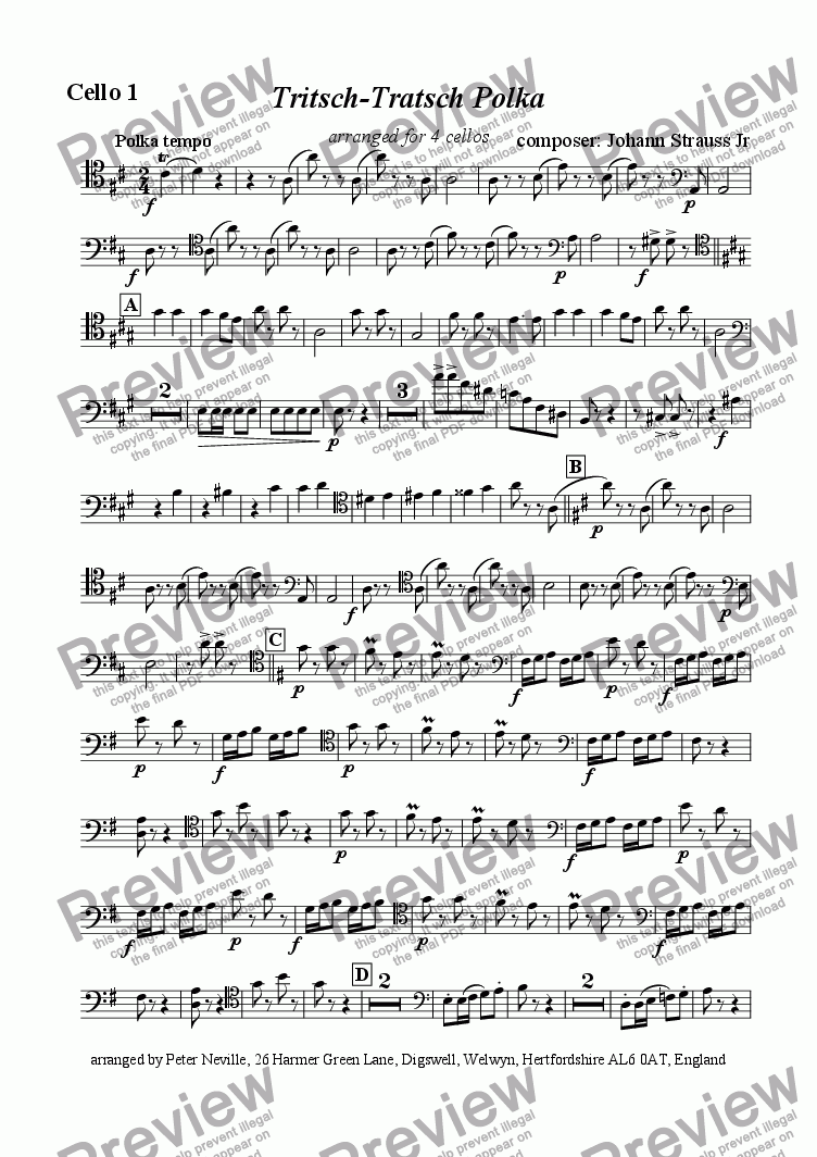 page one of the Cello 1 part from Tritsch Tratsch Polka