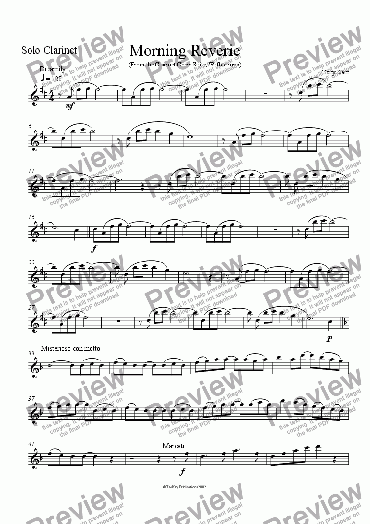 page one of the Solo Clarinet part from Morning Reverie