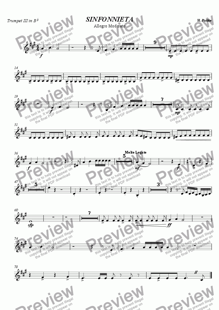 page one of the Trumpet in Bb III part from Sinfonnieta in G