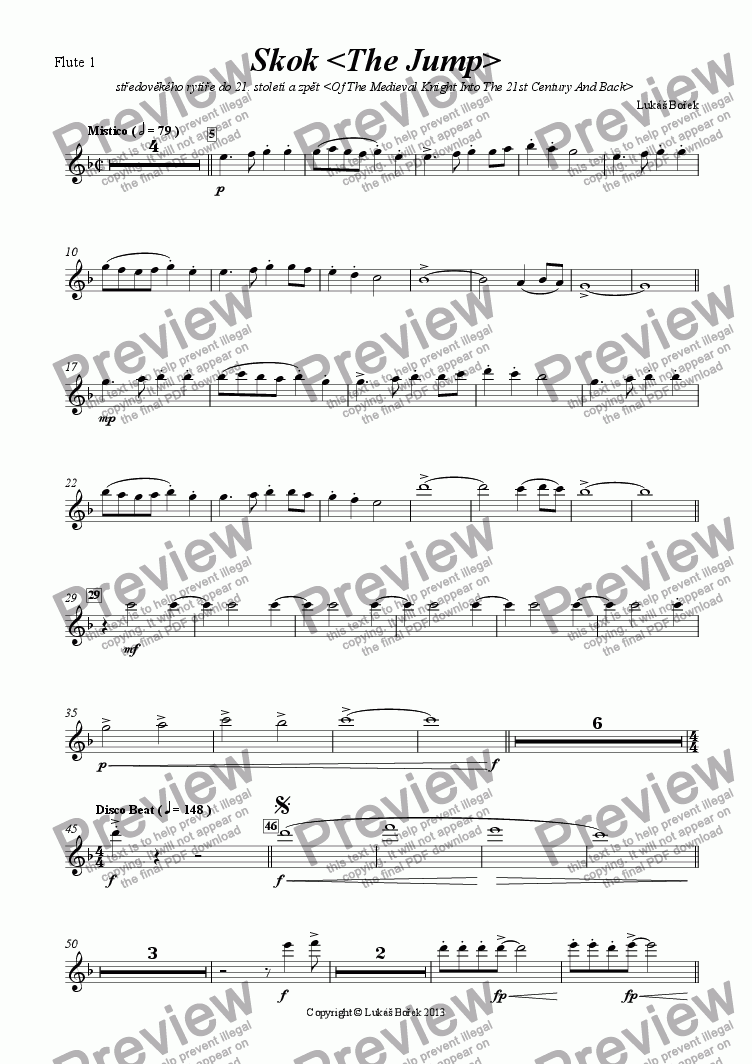 page one of the Flute 1 part from The Jump