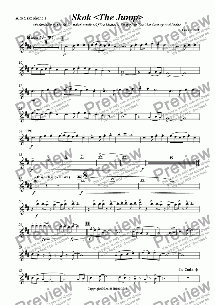 page one of the Alto Saxophone 1 part from The Jump