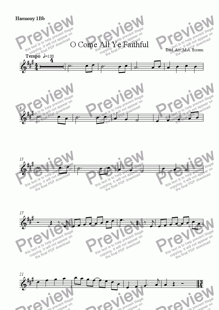 page one of the Harmony 1 in Bb part from 3 Christmas Multilevel Classroom Arrangements: O Come All Ye Faithful, Silent Night, Jingle Bells
