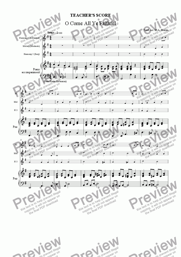 page one of the Teacher's Score part from 3 Christmas Multilevel Classroom Arrangements: O Come All Ye Faithful, Silent Night, Jingle Bells