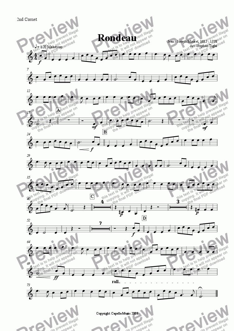 page one of the 2nd Cornet part from Rondeau (for Brass Band)