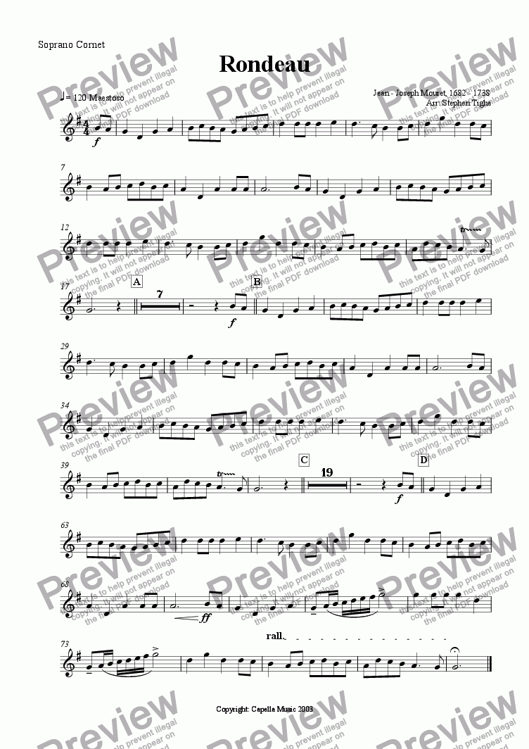 page one of the Soprano Cornet part from Rondeau (for Brass Band)