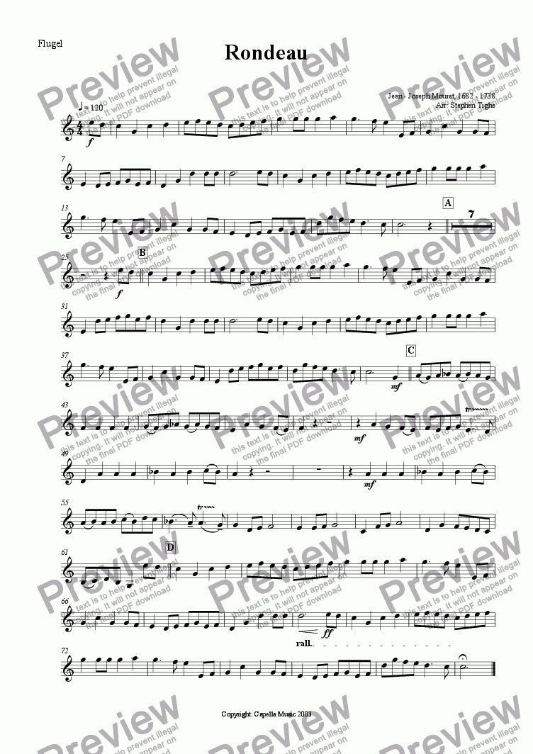 page one of the Flugel part from Rondeau (for Brass Band)