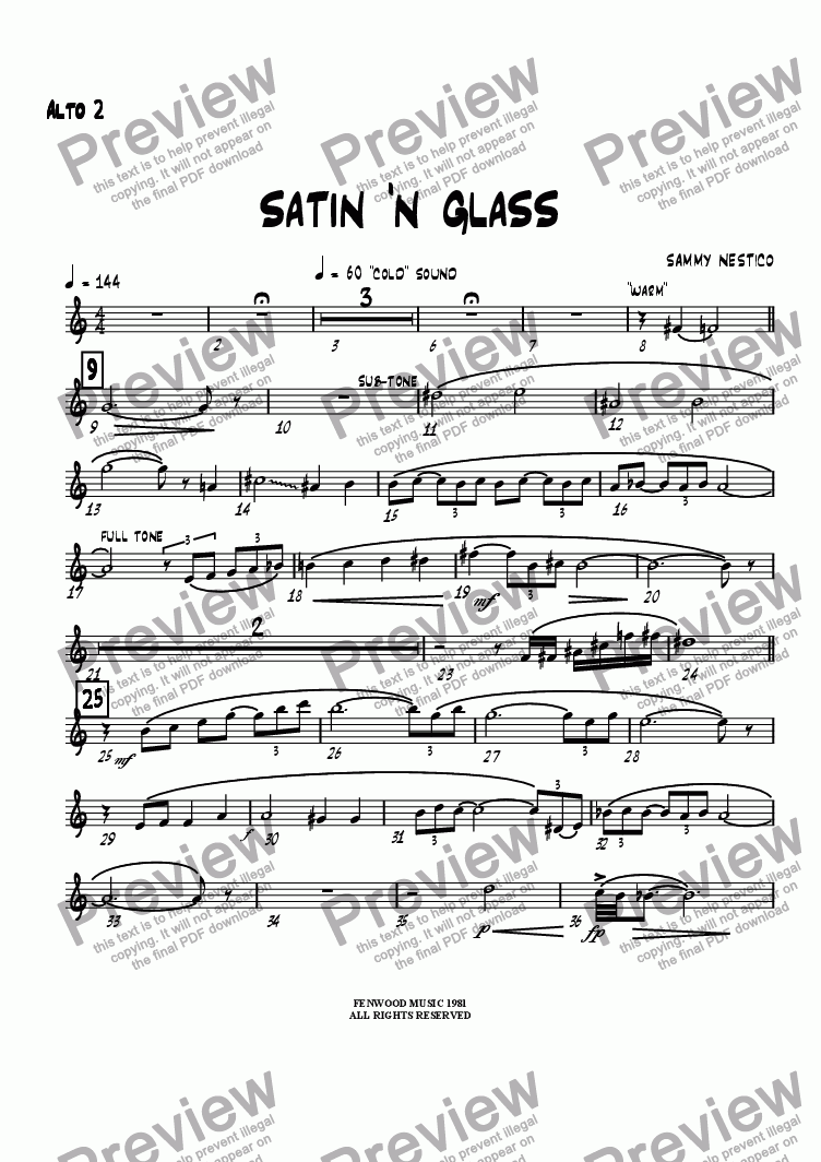 page one of the Alto 2 part from Satin 'N Glass