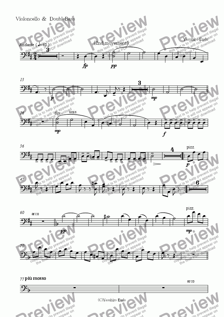 page one of the Violoncello &  DoubleBass part from Symphony No.1(2nd movement)