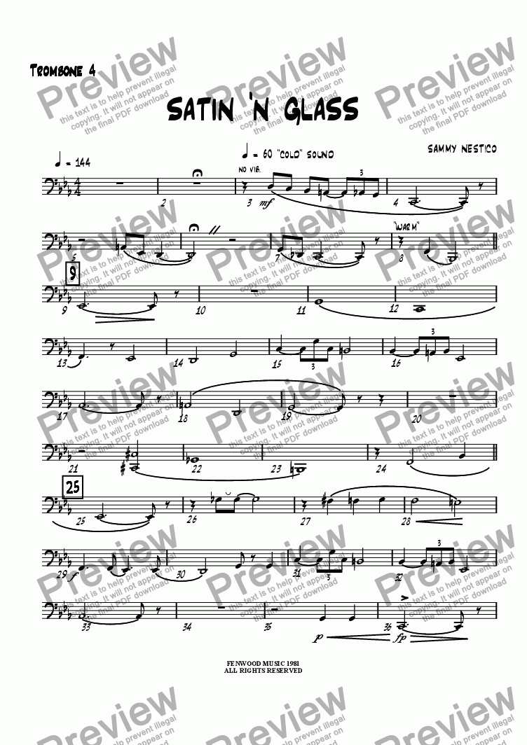 page one of the Trombone 4 part from Satin 'N Glass