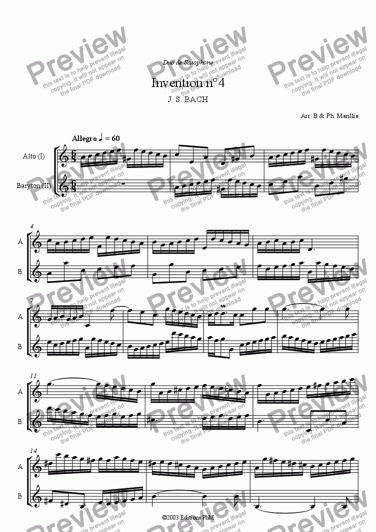 page one of the Eb saxophones part from Bach - 2 voices Inventions n°4, 5, 6 (Sax Duo)