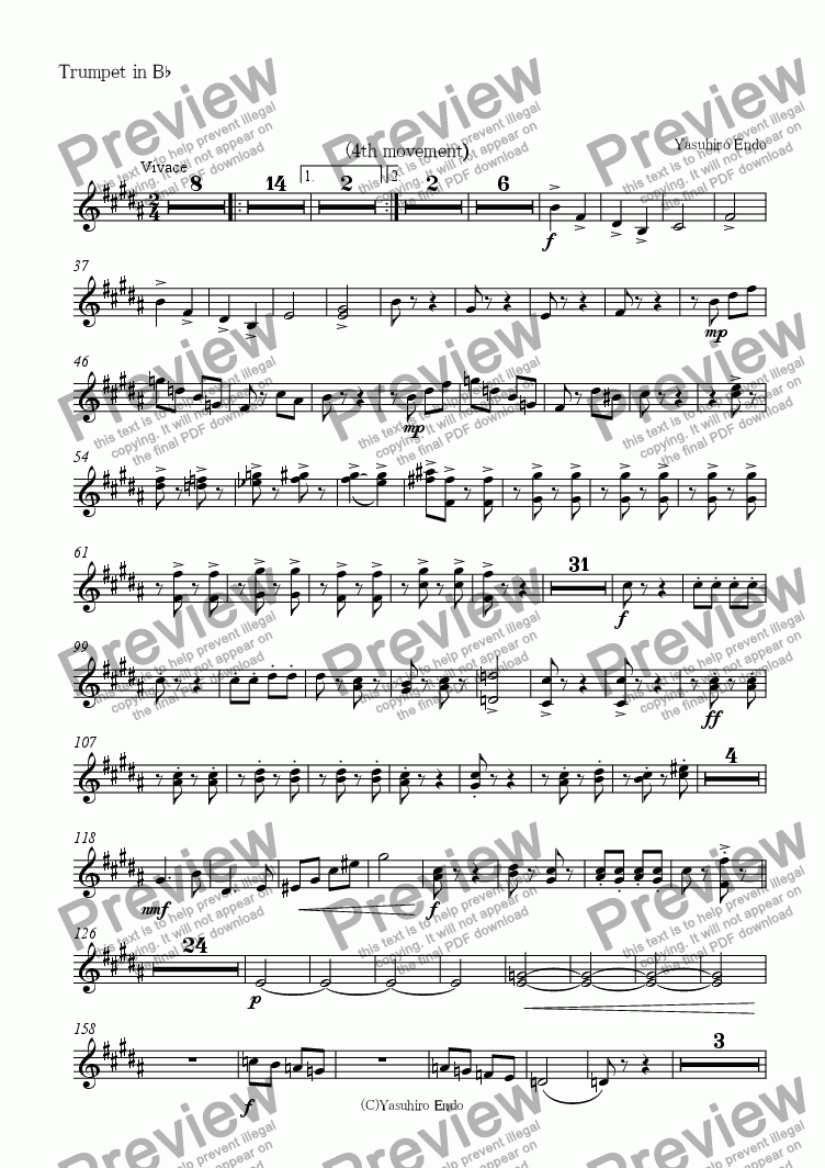 page one of the Trumpet in B^b part from Symphony No.1(4th movement)