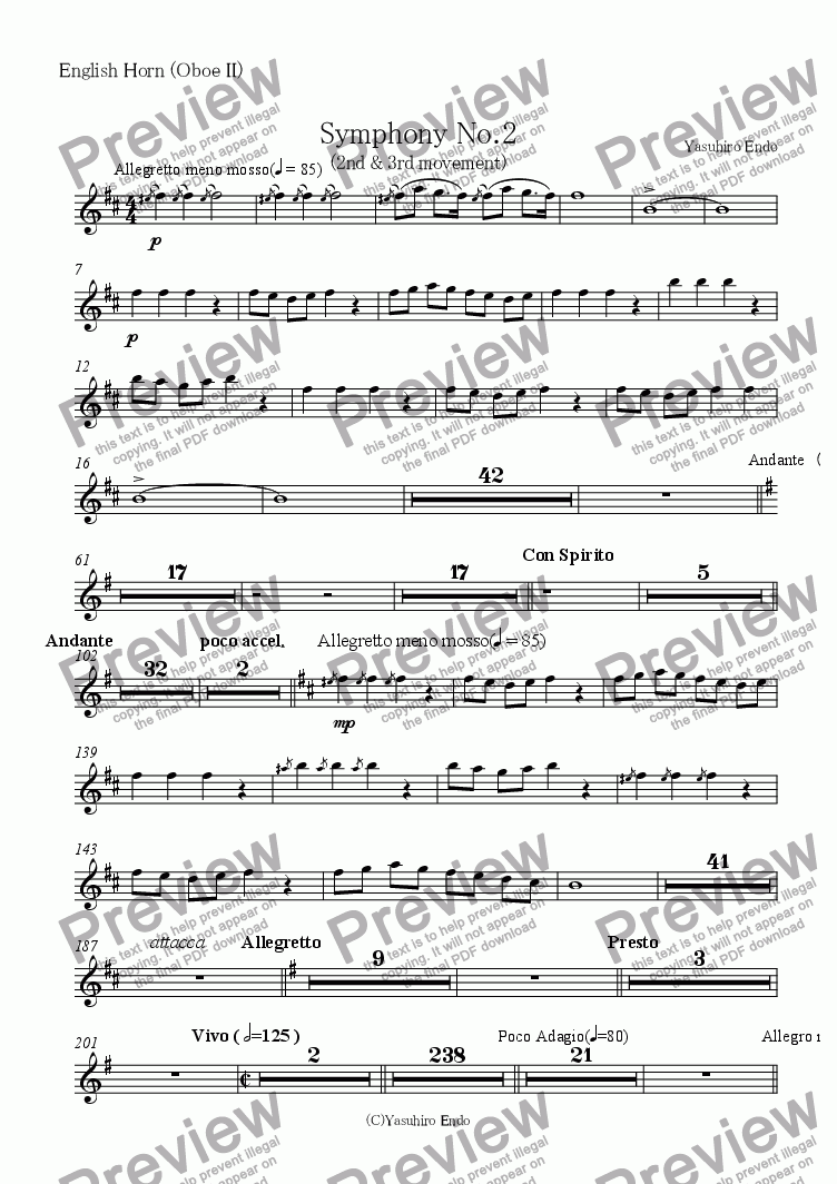 page one of the English Horn (Oboe II) part from Symphony No.2 (2nd and 3rd movements)