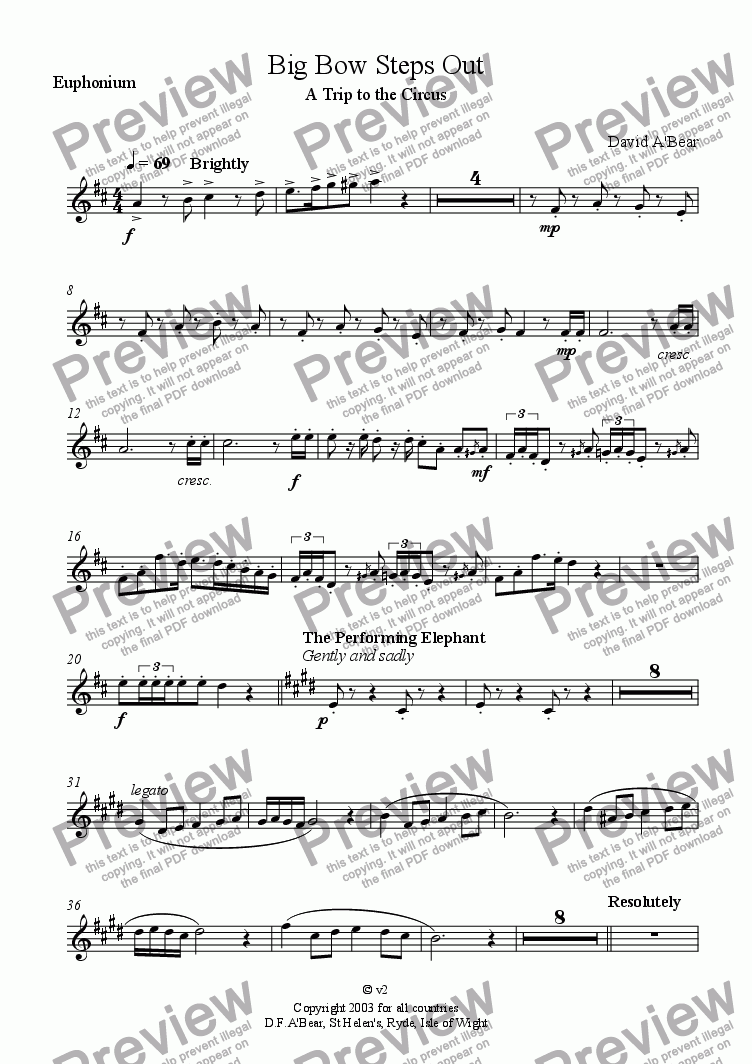 page one of the Euphonium part from Big Bow Steps Out - A trip to the circus