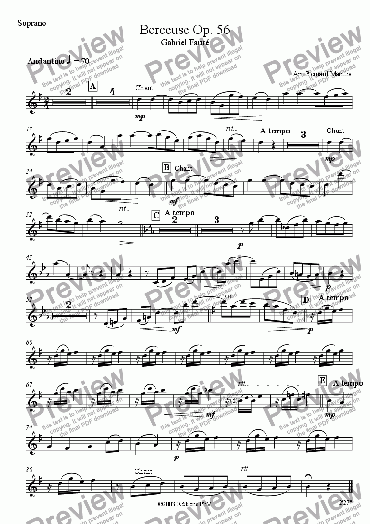 page one of the Soprano Sax part from Fauré - Berceuse Op. 56 (Sax Quintet)