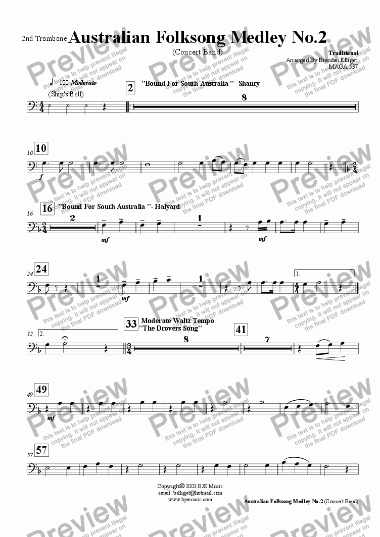 page one of the 2nd Trombone part from Australian Folksong Medley No. 2 - Concert Band