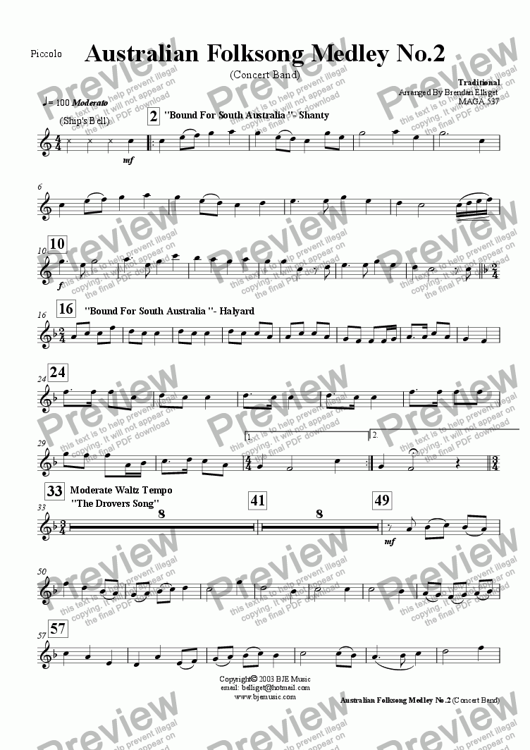 page one of the Piccolo part from Australian Folksong Medley No. 2 - Concert Band