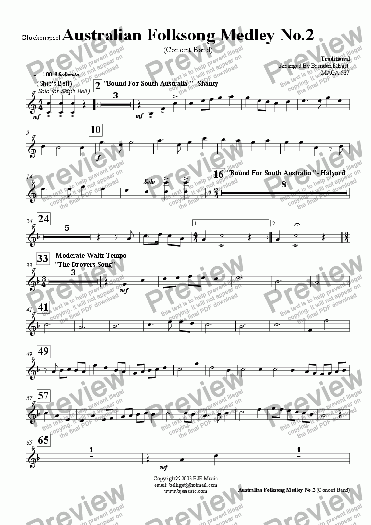 page one of the Glockenspiel part from Australian Folksong Medley No. 2 - Concert Band