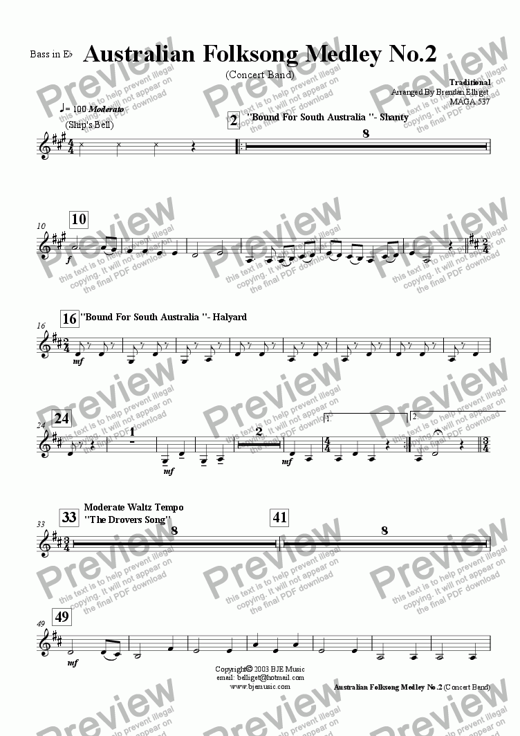 page one of the Bass in E^b part from Australian Folksong Medley No. 2 - Concert Band