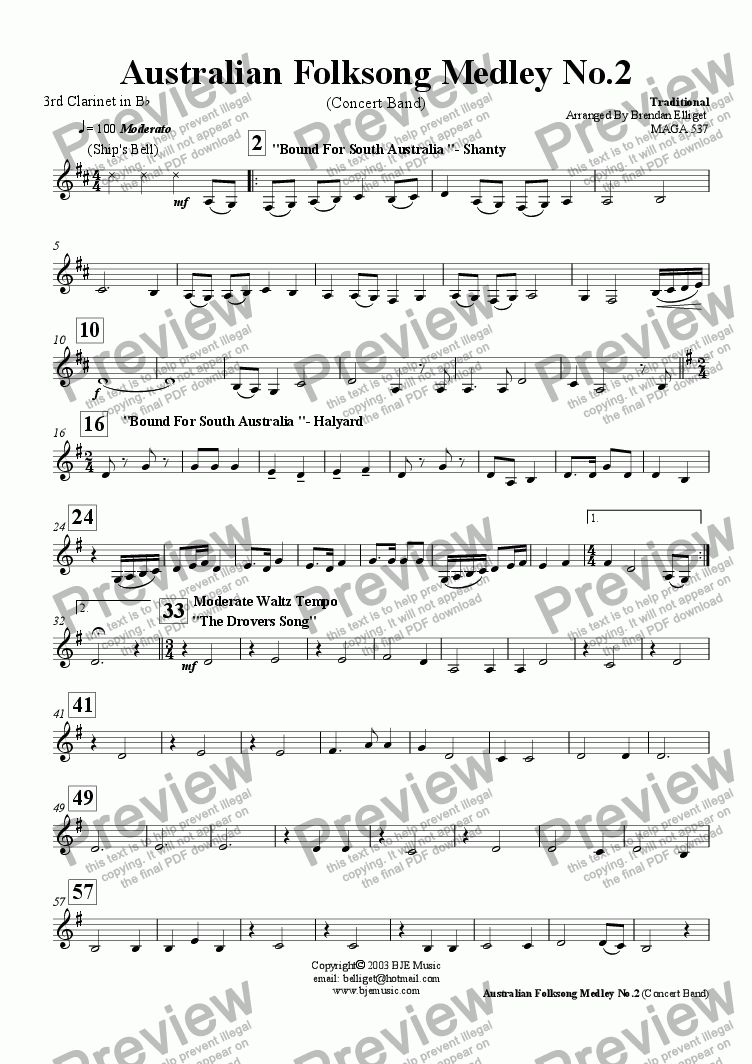 page one of the 3rd Clarinet in B^b part from Australian Folksong Medley No. 2 - Concert Band