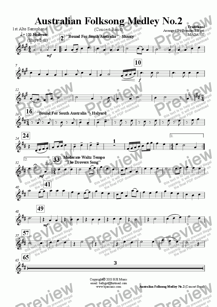 page one of the 1st Alto Saxophone part from Australian Folksong Medley No. 2 - Concert Band