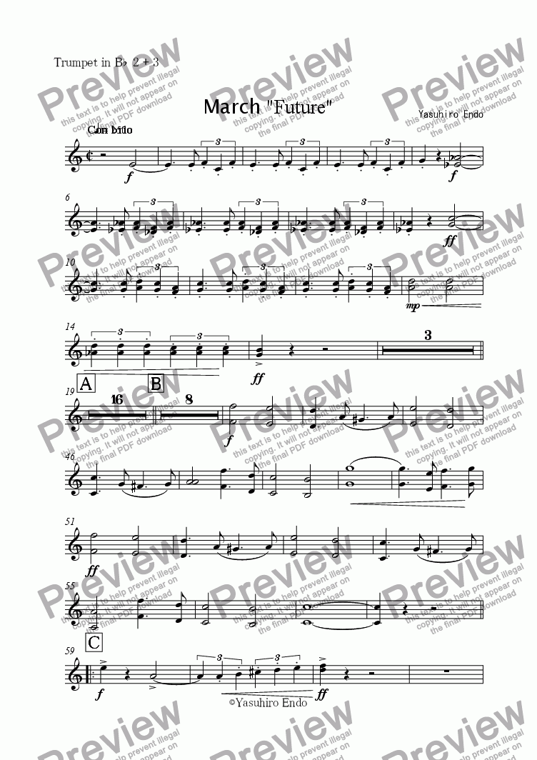 "page one of the Trumpet in B^b^ 2 + 3 part from March ""FUTURE"""
