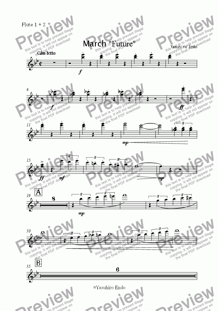 "page one of the Flute 1 + 2 part from March ""FUTURE"""