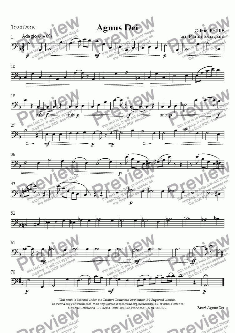 page one of the Trombone part from Agnus Dei