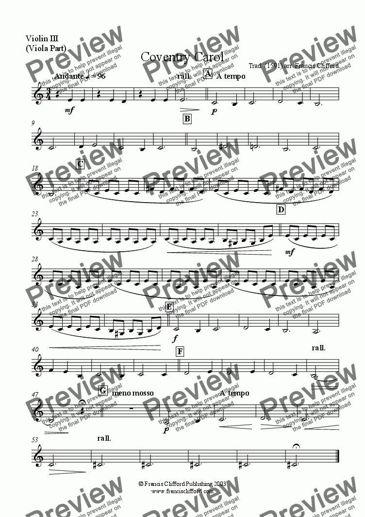 page one of the Violin III (Viola Part) part from Coventry Carol (String Quartet)