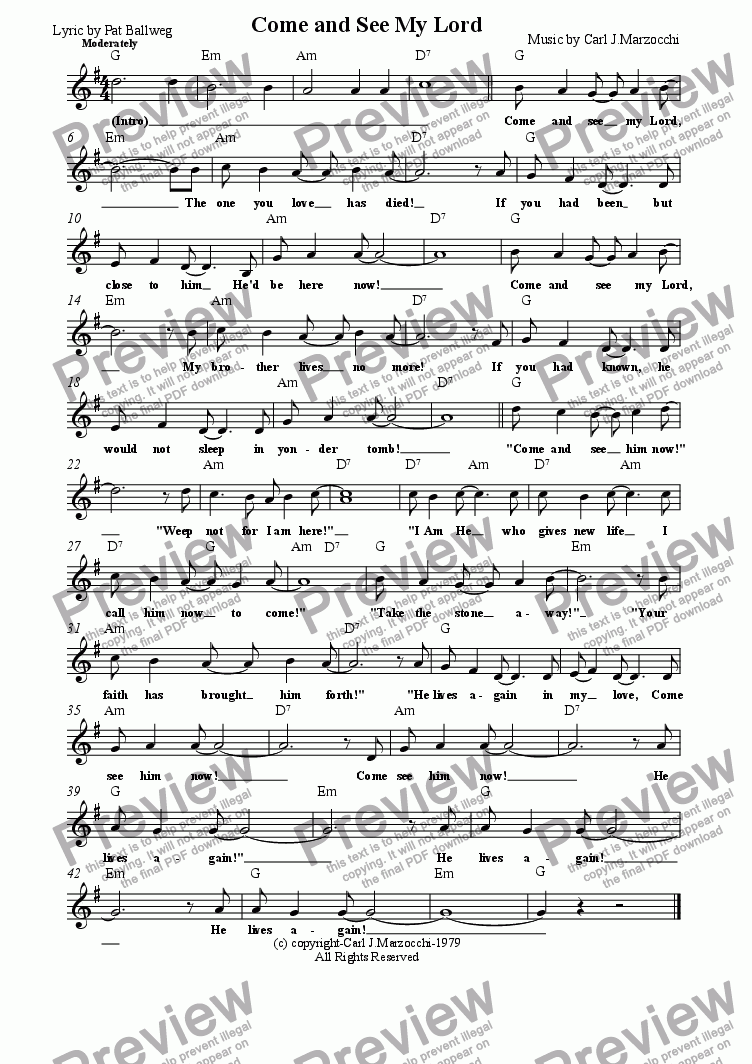 page one of the Guitar/Vocal Lead Sheet part from Come and See My Lord