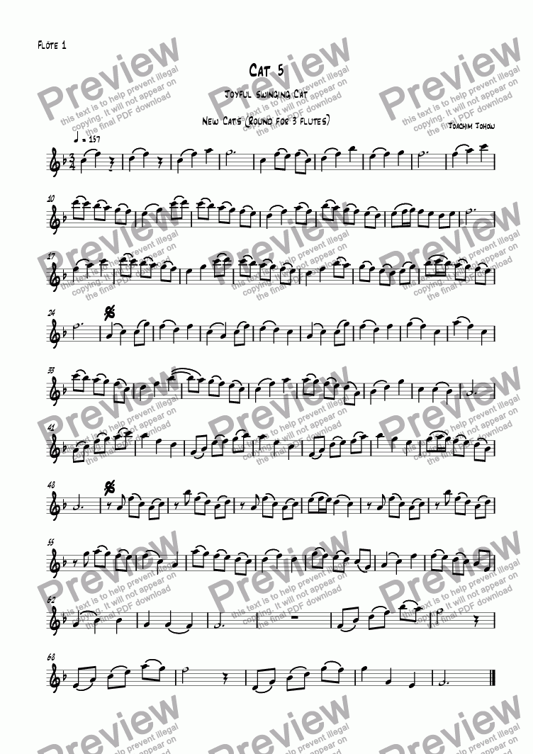 page one of the Fl part from 3 new cats Cat 07 (canon for 3 flutes, piano and bass)