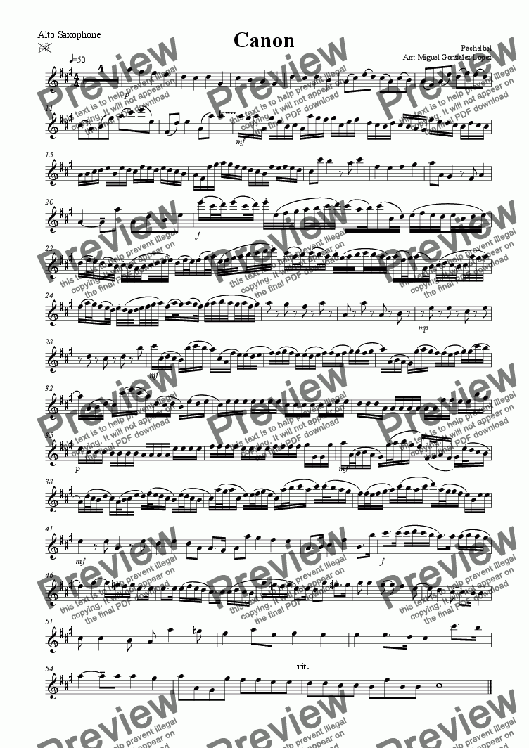 page one of the Alto Saxophone part from Canon