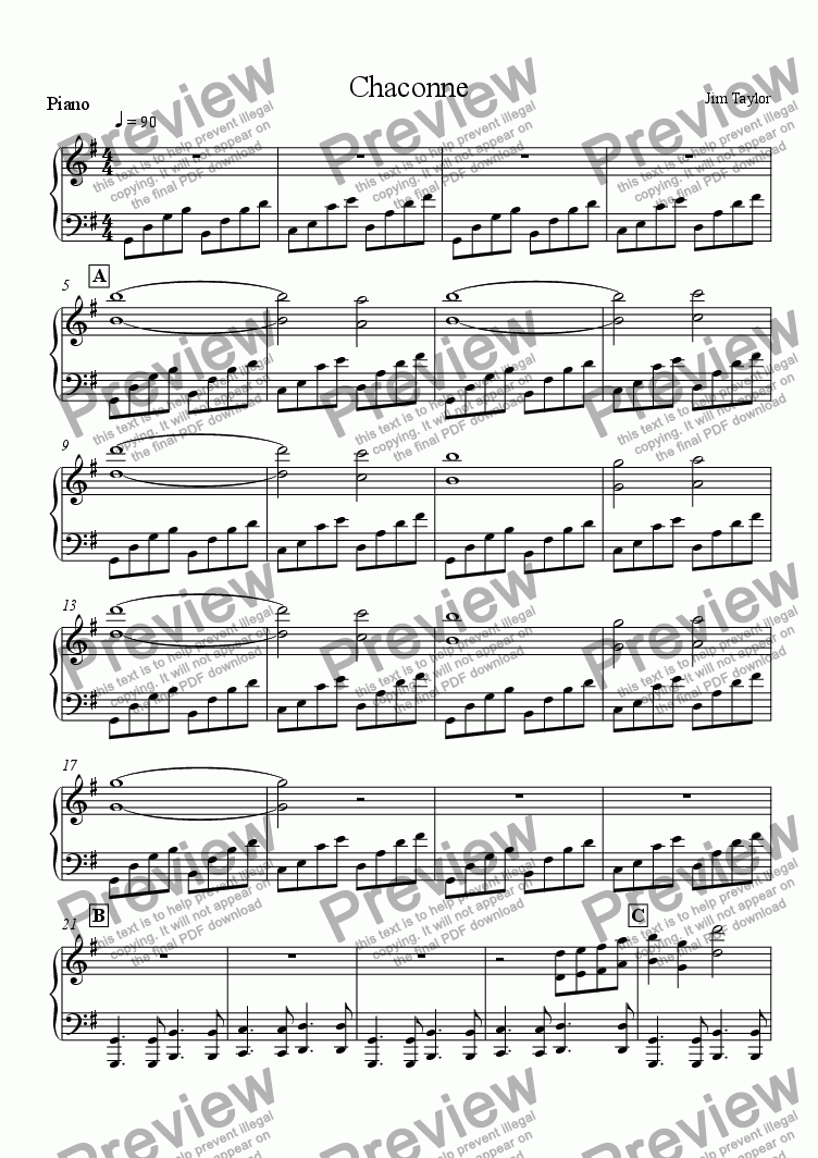 page one of the Piano part from Chaconne