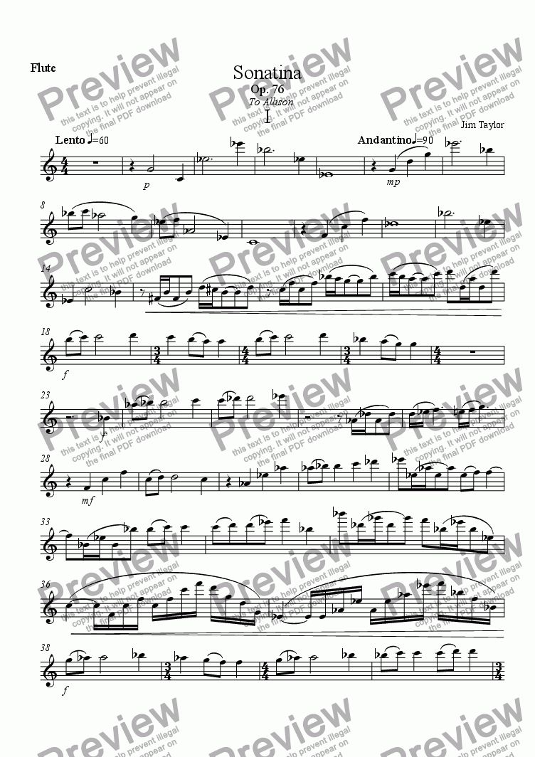 page one of the Solo Flute part from Sonatina for Flute and Piano