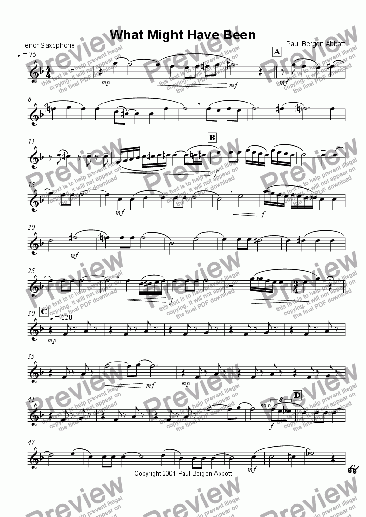 page one of the Tenor saxophone 3 part from What Might Have Been (saxophone quartet)
