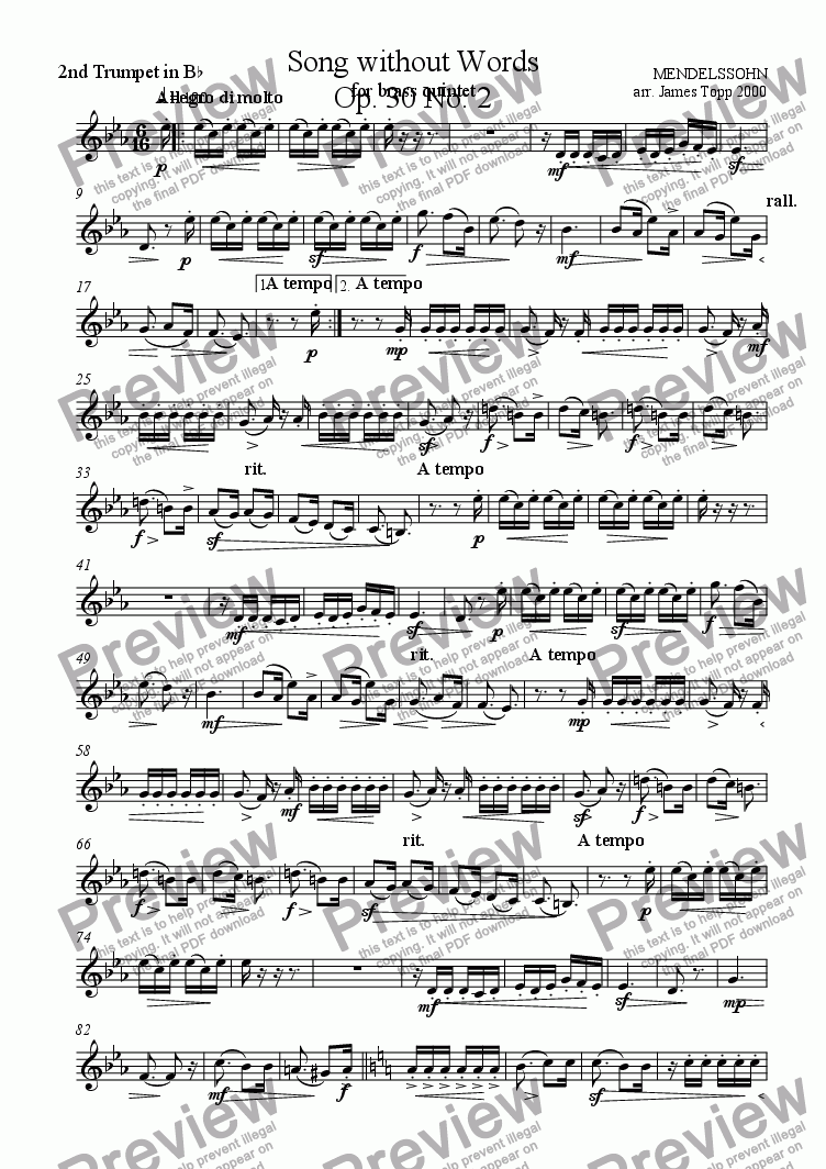page one of the Trumpet 2 part from Song Without Words Op. 30 No.2