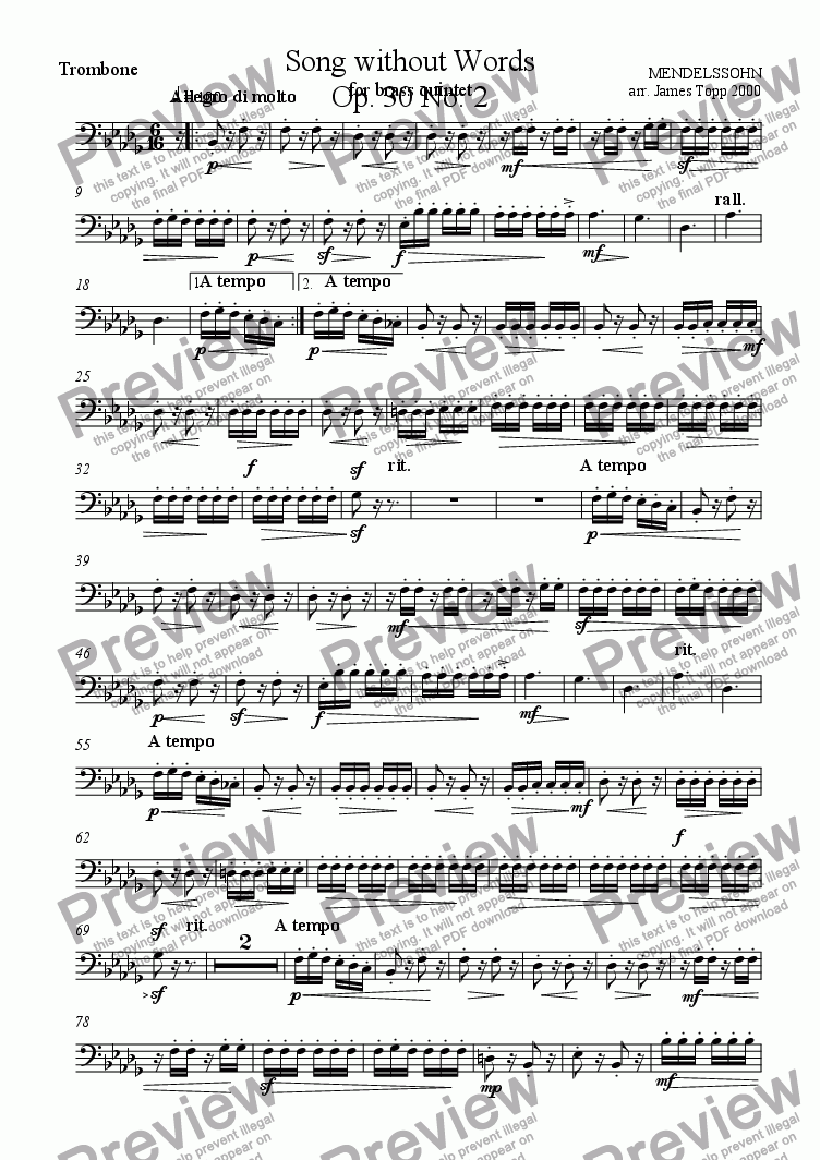 page one of the Trombone part from Song Without Words Op. 30 No.2